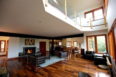 Spacious and open Living Dining and Kitchen with over sized fireplace