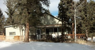 Front of house with snow in winter