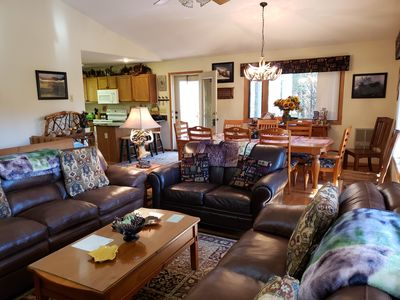 Living Room with gas fireplace, Dinning Room & Kitchen (open) hardwood floors