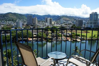 View of mountains, City and Canal from Lanai/balcony