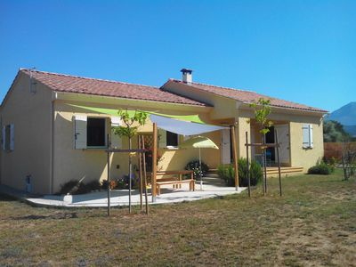 Photo for 400m from the beach: Detached villa on large fenced garden with terrace