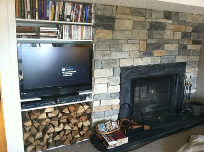 Log Fireplace and Entertainment Center
