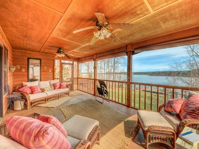 Photo for NEW LISTING! Lakefront home with dock, horseshoe pit, BBQ, and firepit!