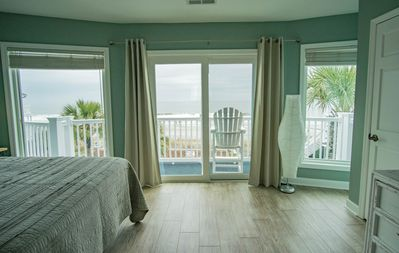 Master bedroom with huge beach views and private balcony.