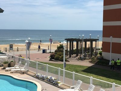 Photo for Oceanfront/Boardwalk studio w/pool.... just steps to the beach