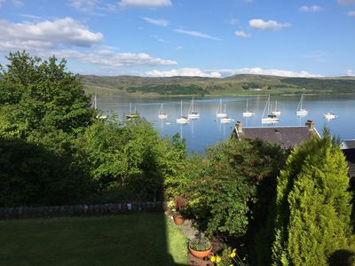 Photo for Cosy cottage flat surrounded by communal gardens with seaview of Kyles of Bute