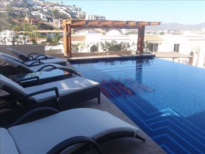 50ft Pool ,  swim up bar with seating ,sun lounges, sun most of  the day