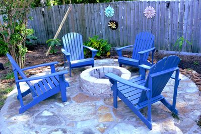 The Fire Pit with Adirondack chairs perfect for relaxing.