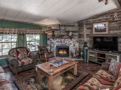 Photo for Modern Cabin w/ WiFi, Fireplace, Grill, Big Screen TV & Outdoor Hot Tub