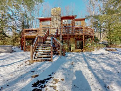 Photo for Lakefront home w/ lake view, private hot tub, fireplace & dock - dogs OK!