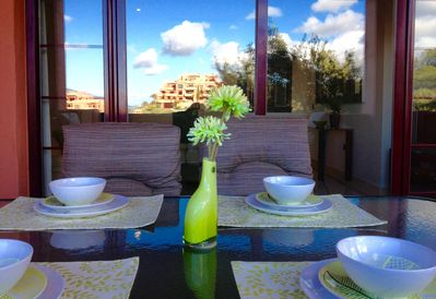 Terrace table and reflected view