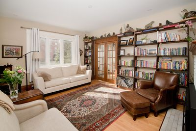 Library with gas fireplace