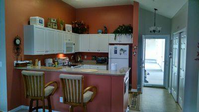 Kitchen equipped with everything, coffee pot, toaster  oven,crock pot, blender.