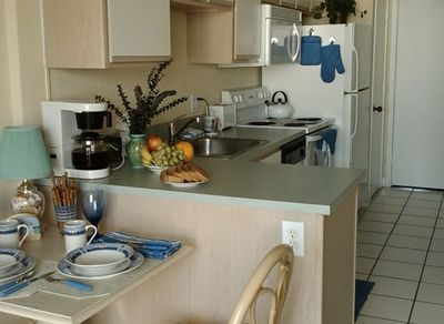 Complete Kitchen with plenty of dishes, and cooking necessities if you eat in.