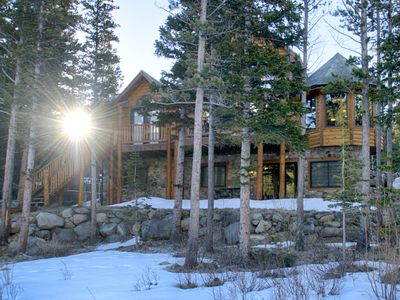 Photo for Lake Front Log Home, Amazing Mountain Views, Private Fishing, Close to Skiing