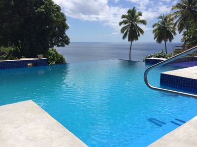 Infinity edge pool at Southwest corner of our pool.