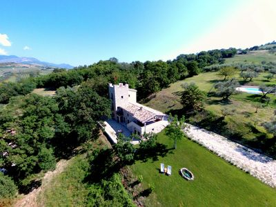 Photo for Villa with tower between olive trees with private swimming pool, nice view
