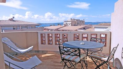 Photo for T2 + cabin apartment - 4 people - Sea view - Downtown - Sainte Maxime