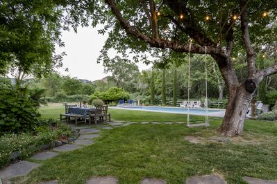 Private, serene setting, with views, pool, spa, and bocce