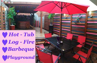 Terrace with Hot Tub and Barbeque - massive Gazebo for protection all weathers