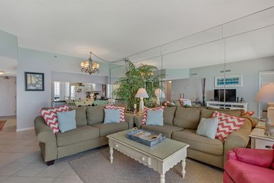 Spacious living room with gulf breeze and views