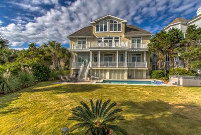 View from beach! New decks, hot tub, doors, windows, landscaping & more!