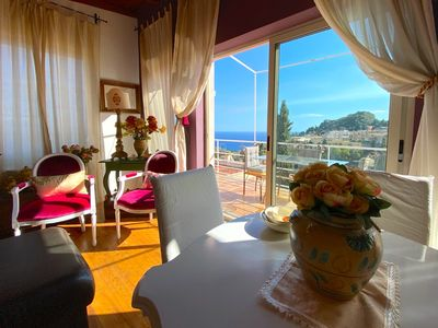 Photo for Exclusive Use PANORAMIC VILLA  DORA Sea View Terrace BBQ, Fireplace + Garden