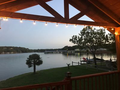 Twinkle lights set a beautiful atmosphere on our large deck.