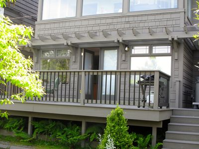 Studio entry from  deck - main house above studio