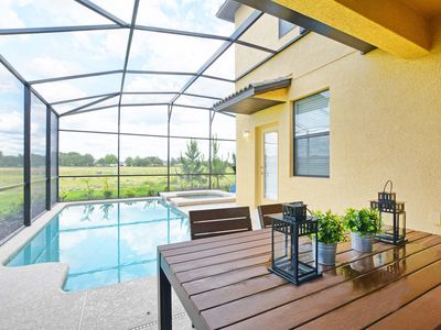 Photo for Free Wifi/Grill/Private Pool and Spa/Private back yard/On resort/10 mins Disney/
