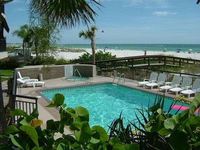 Our Pool and Hot Tub are the only things between the condo and the beach!