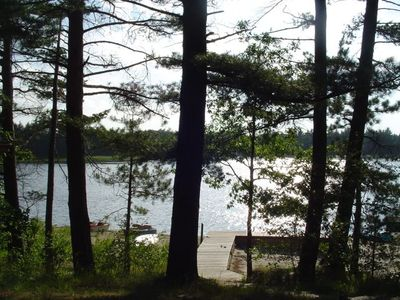 Photo for Log Home On Wequas Lake, dog-friendly, fireplace, free boats