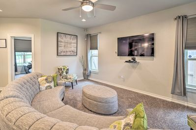 Sink into the plush furniture of the living room and enjoy the air conditioning.