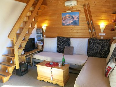 Photo for Beautiful duplex, renovated chalet style 6-7p, on slopes, large south balcony,