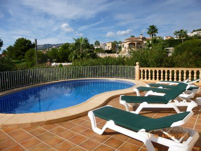 Photo for Detached luxury 3 bed villa private pool/gardens quiet area nr beach. Free WiFi.