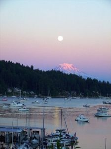 Gig Harbor's walkable bay is only 1 block away.  The moon sets over Mt. Rainier.