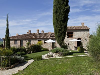 Photo for Near S.Gimignano apartment with A/C, WIFI,garden, pool in farm  building