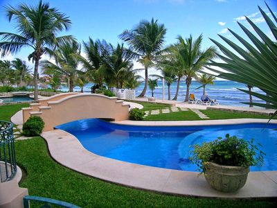 beautiful oceanfront pool steps from the condo terrace