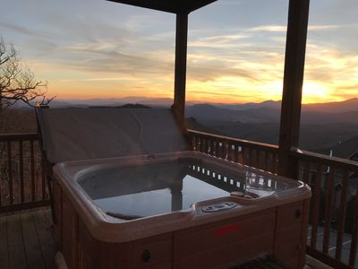Enjoy the unreal backdrop from the PRIVATE hot tub!