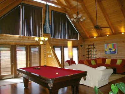 living room with 9' pool table
