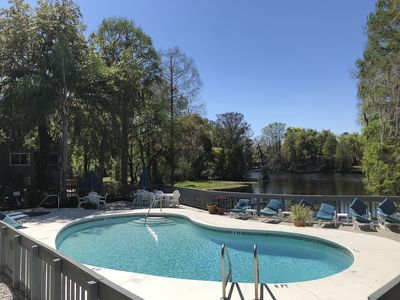 The pool overlooks the Withlacoochee River.