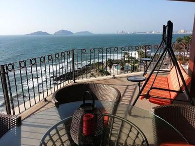 View to the N. of Mazatlan Golden Zone & 3 islands from our 7th floor balcony.