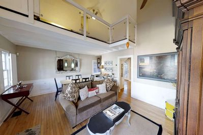 king bedroom lofted above the living/dining room