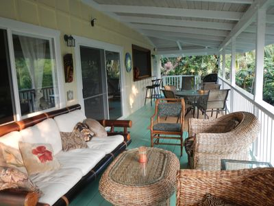 450 square feet of covered lanai is a comfortable place to relax any time of day