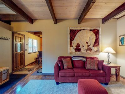 Photo for Comfortable cabin w/private, six-person hot tub-near lake & skiing