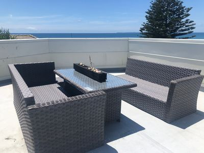 Seating area on roof top deck