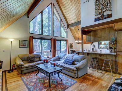 Photo for A-frame with furnished deck plus game room - close to skiing, water, and town