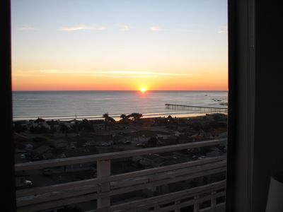 Sunset and Cayucos Pier Through the Living Room Window.
