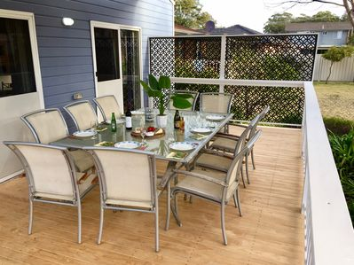 Rear deck for entertaining. Fabulous to sit here on a nice summer evening or winter's day