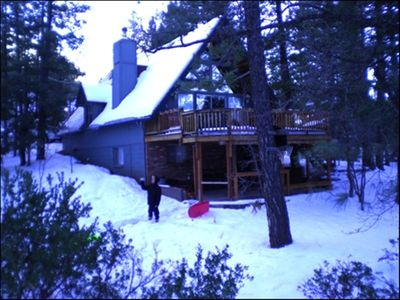 Photo for Snowy cabin with private sledding hill